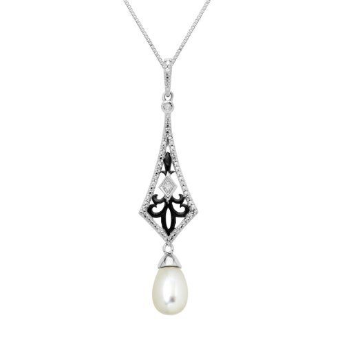 Sterling Silver Freshwater Pearl and Diamond Art Deco Drop Pendant Necklace, 18 Amazon Curated Collection. $61.00. Made in Thailand