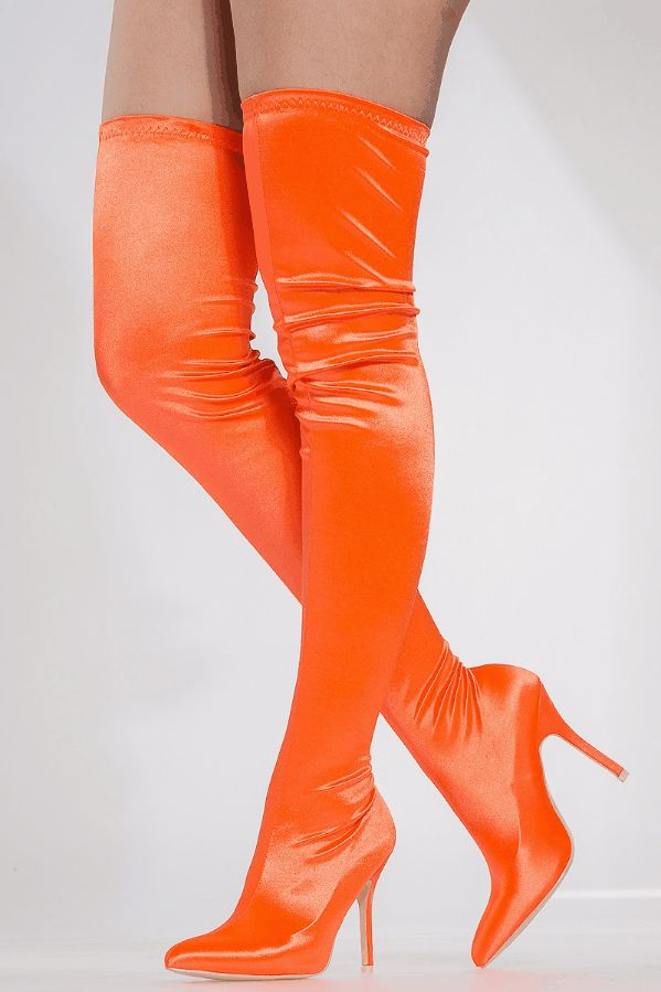 Orange Satin Pointed Toe Thigh High Boots Incredible deals on the hottest trends in Teenage Girl Shoes, Junior Shoes Stores, Teen Clothing Online, Trendy Juniors Clothing, Teenage Girl Clothing Stores and Teen Shoes Online at CiCiHot. Shop women's clothing, sexy dresses, party dresses, casual dresses, little black dresses, heels pumps, stilettos, boots, ankle ...