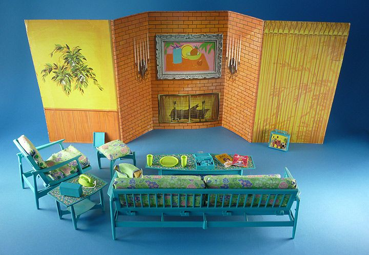 Barbie go together furniture and living room backdrop for Rooms to go 1960