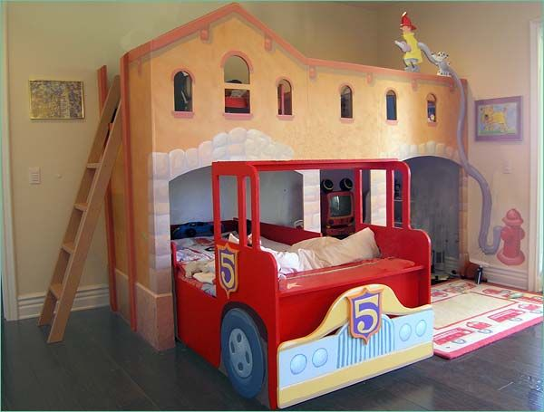 fire truck bed in station sooo cool and would be so awesome in my little boys room i like the bed is on the ground - Bedroom Ideas For Children