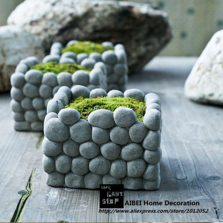 Aibei criativo de pedra flor hidroponia cimento de Micro paisagem retângulo suculentas pequenos vasos de jardim em Pote para flores de Em casa, Kitchen & Jardim no AliExpress.com   Alibaba Group