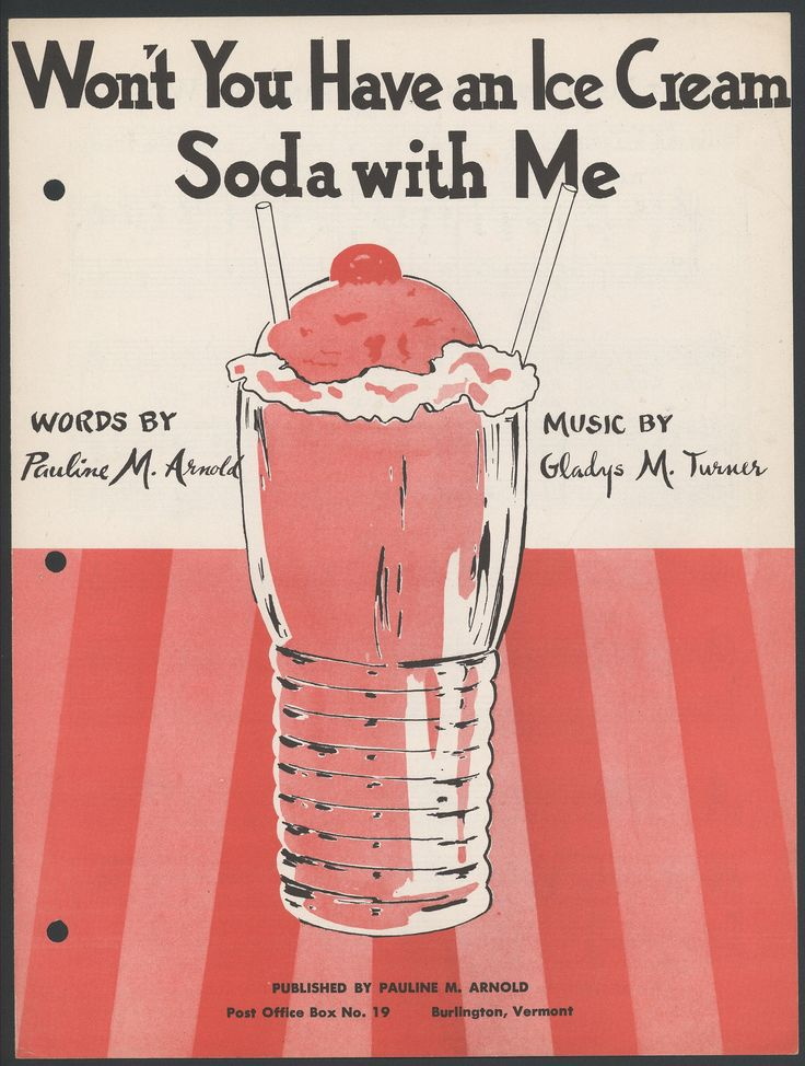 """You don't have to ask us twice! This 1954 sheet music wonders, """"Won't You Have an Ice Cream Soda with Me?"""""""