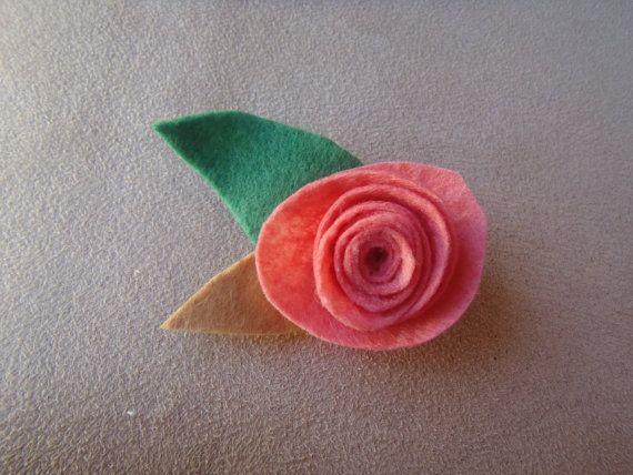 Handmade Felt Rose Brooch by RaedianceByJo on Etsy, $5.00