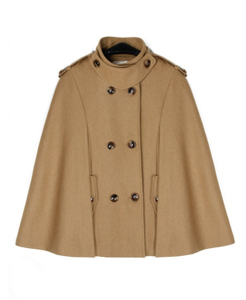 Khaki Double Breasted Poncho Coat with Stand Collar