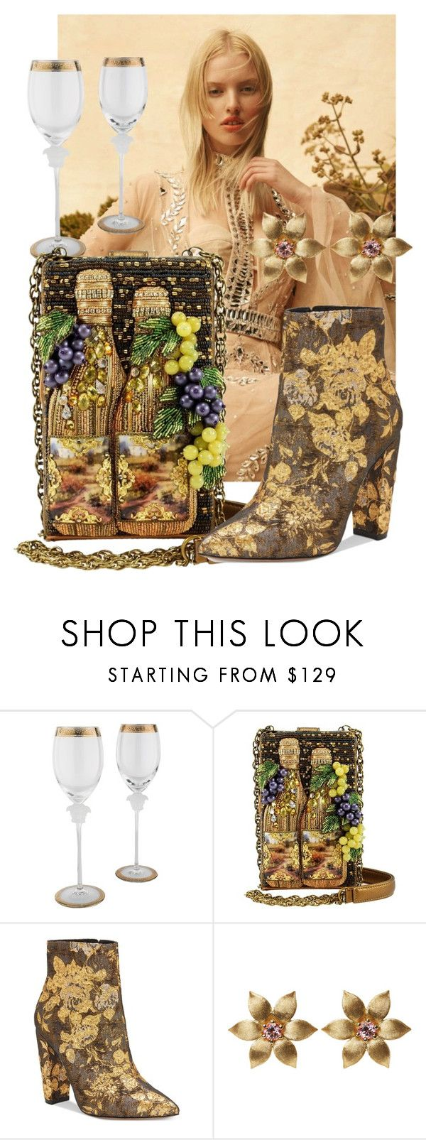 """""""Napa Valley Beaded Wine Handbag by Mary Frances"""" by mfaccessories on Polyvore featuring Rosenthal, Jessica Simpson, La Perla and maryfrances"""