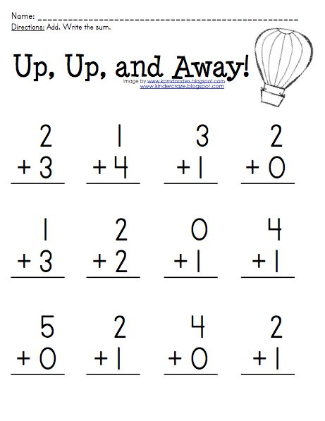 FREE addition practice for sums 0-5 at Kinder-Craze!