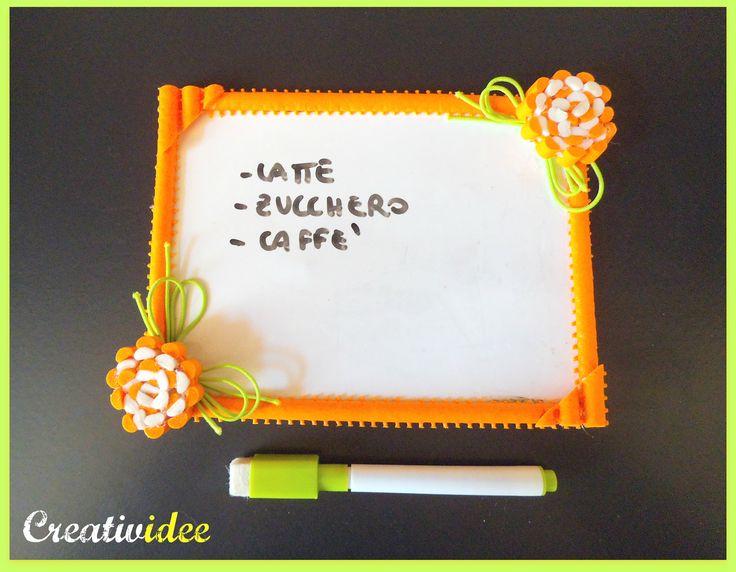 Lavagnetta magnetica decorata con tappetini di gomma da cucina. Riciclo creativo!