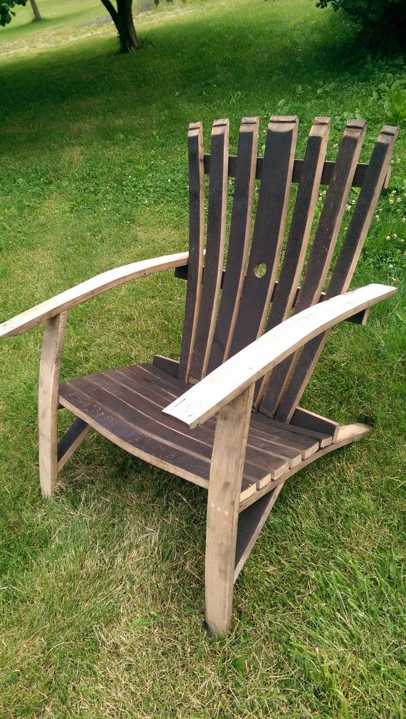 Whiskey barrel stave adirondack chair diy pinterest
