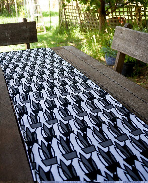 Table Runner: Mother-in-law's Tongue design in black and white by olioko