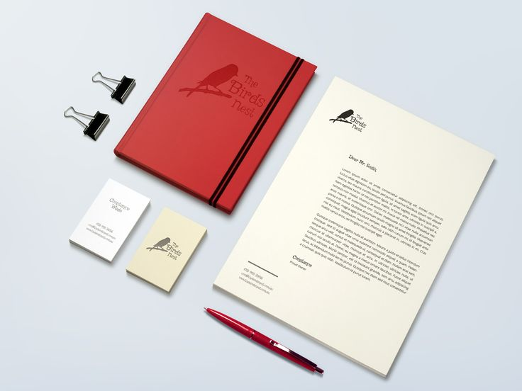 'The Birds Nest' stationary mock-up by Pixelution