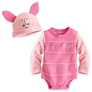 Disney Piglet Bodysuit Costume Set for Baby - Personalizable | Disney StorePiglet Bodysuit Costume Set for Baby - Personalizable - They'll be happy to make a Piglet's ear of things dressed as Pooh's little friend. They can imagine themselves strolling through the Hundred Acre Wood in this soft cotton Piglet Bodysuit Costume Set that includes a beanie with 3-D ears.