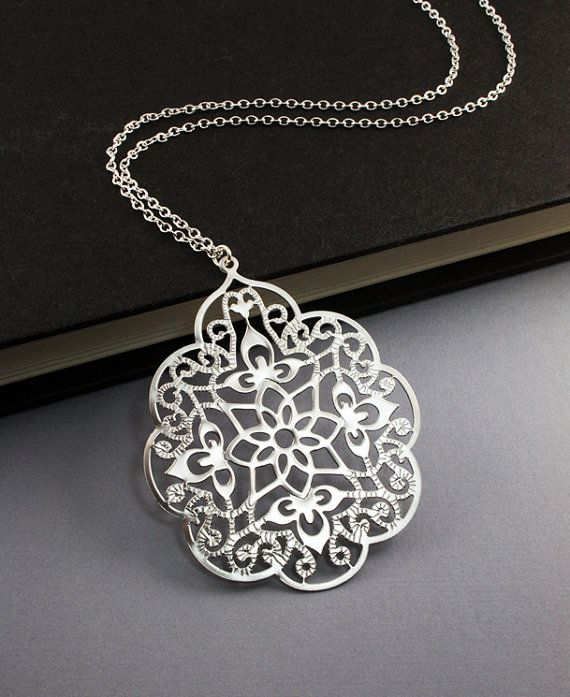 Filigree Silver Necklace. Long Chain Necklace.Valentine's Day Jewelry. perfect everyday look, friend's gift (WN23)
