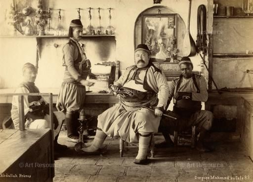 Cafe, Interior, Depiction of, Man, Ottoman dynasty (ca.1280-1924), Photograph, Turkey, Topography, Turks, People