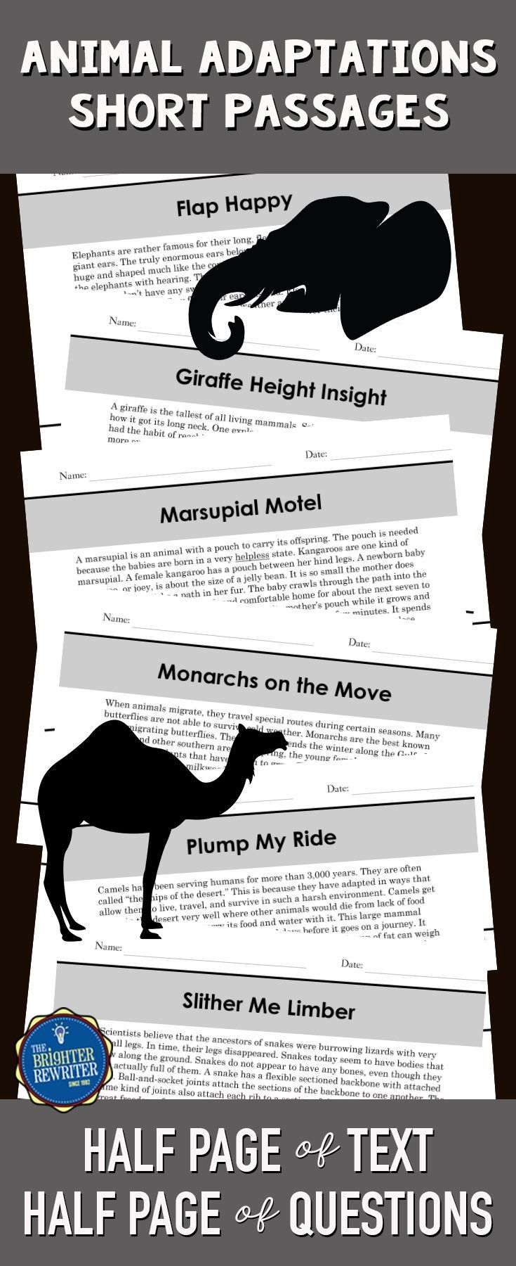 6 nonfiction mini-passages with informational text about animal adaptations and 4 multiple-choice comprehension questions on one page. The questions include a variety of reading skills and are modeled after the types of questions on standardized reading tests. Great for integrating science and reading!