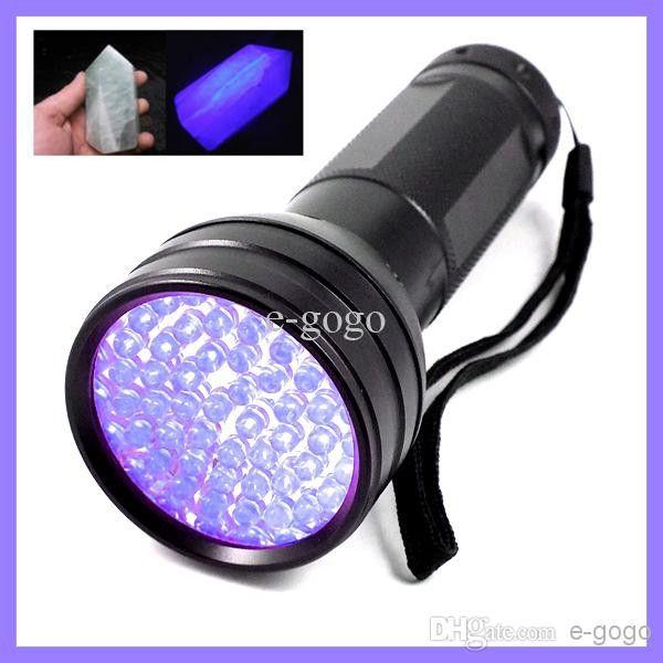 51 UV Ultraviolet LED Flashlight Violet Blacklight Black Light Torch 395 nM 51LED Aluminum Shell UV Torch Mini Light 3AAA Battery (not inclu