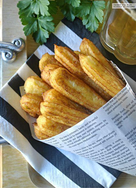Churros de patata, queso Parmesano y mostaza. Receta de aperitivo