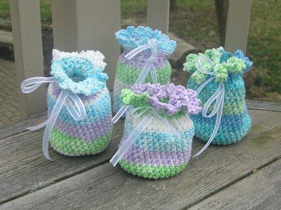 Crochet Sachet Bags : Potpourri Sachet Party Bags - Crochet Potpourri Sachet - Set of 4 - M ...