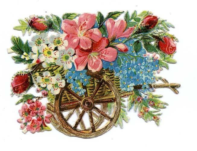 DECOUPI ANCIEN BROUETTE DE FLEURS - MYOSOTIS - ROSES fr.picclick.com