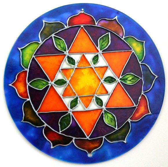 c76ed5a4d97350 Mandala Estrella doble hexagrama amarillo con hojas de otoño en ...