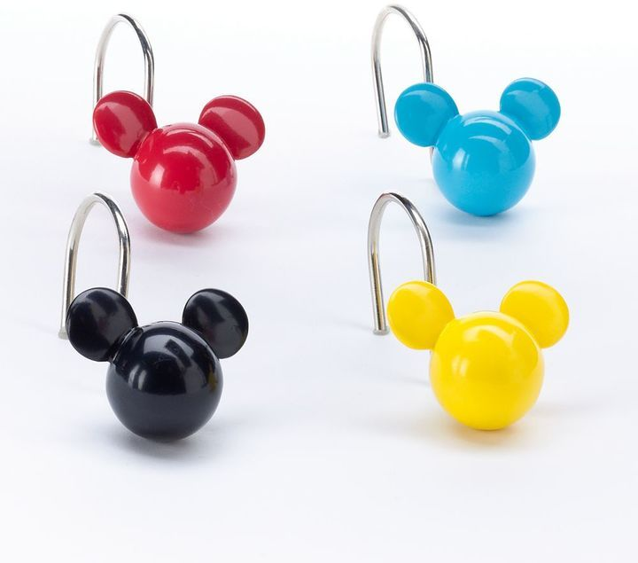 Disneyjumping beans Disney's Mickey Mouse 12-pack Shower Curtain Hook by Jumping Beans® Animated appeal. Make your bathroom pop with these Disney shower curtain hooks. In multi. © Disney FEATURES 12-pack Slip-on installation Mickey Mouse head silhouettes CONSTRUCTIONCARE Resin Wipe clean. Afflink.