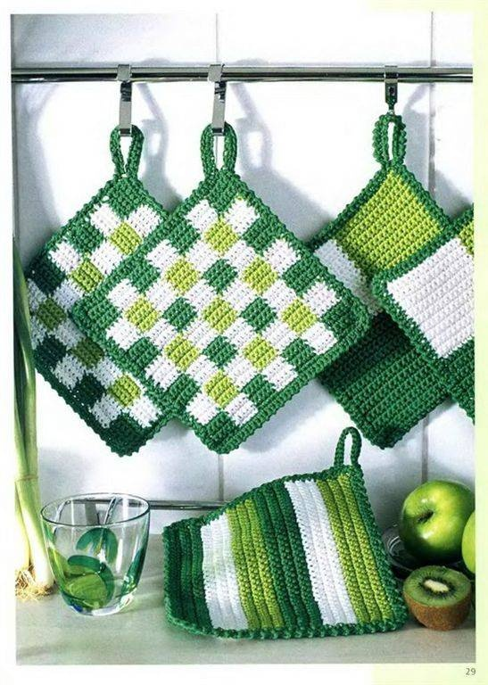 Potholders. Pretty color combo for St Patty's Day.