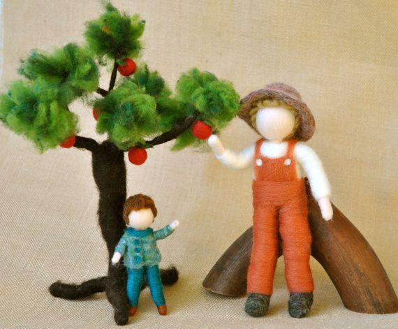 Waldorf inspired needle felted dolls  Farmer and Boy von MagicWool, $95.00