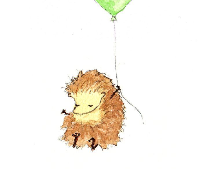 Hedgehog, Cute Animal Art, Balloon Print, Nursery, Animal Art, Nursery Decor, Animal Art Print, Wall Art, Watercolour Print by OneLittleBundle on Etsy