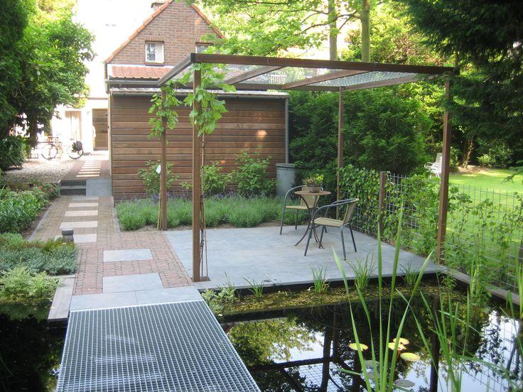 Combi klinkers met betontegel of betontegel huis pinterest home and met - Pergola met intrekbaar canvas ...