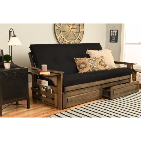 Chesapeake Futon with Storage in Rustic Walnut Finish, Twill Black Mattress