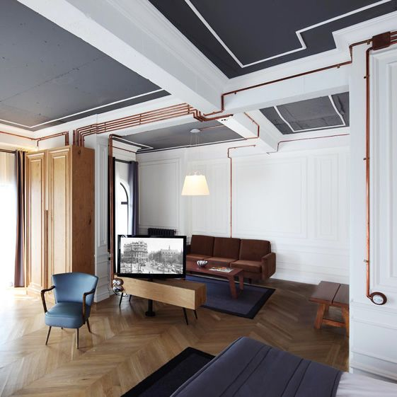 Interesting idea w/ exposed copper wiring at Karaköy Rooms Hotel Istanbul by Run Architects.