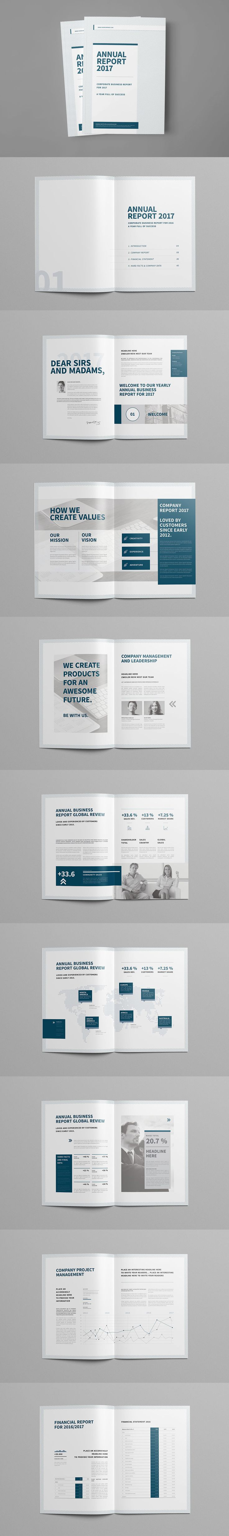 Minimal and Professional Annual Report or Company Brochure Template InDesign INDD