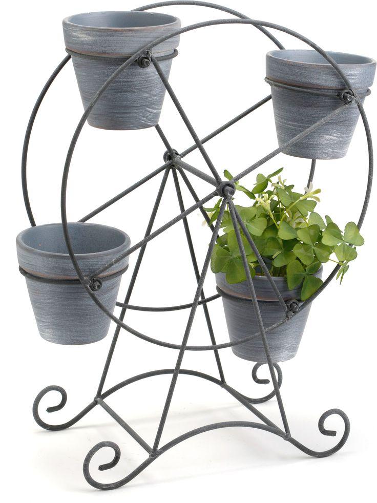 Cache Pot Grande Roue En Metal Et Pierre Pots De Fleurs En Plastique Fleur En Plastique Et Pots