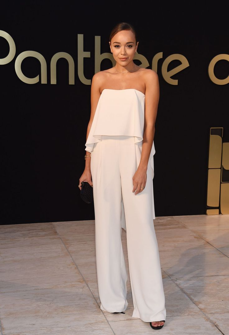 Ashley Madekwe glowed in the Strapless Flowy Crepe Jumpsuit by Halston Heritage at Cartier's Panthere party in Los Angeles