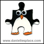 Penguin Puzzle Piece Craft for Kids  - directions on www.daniellesplace.com
