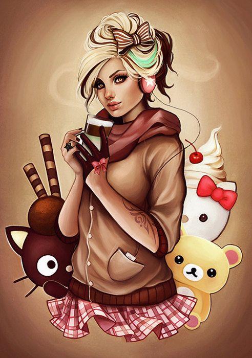 Mint latter autumn hello kitty coffee chocolate art by AnnaMarine