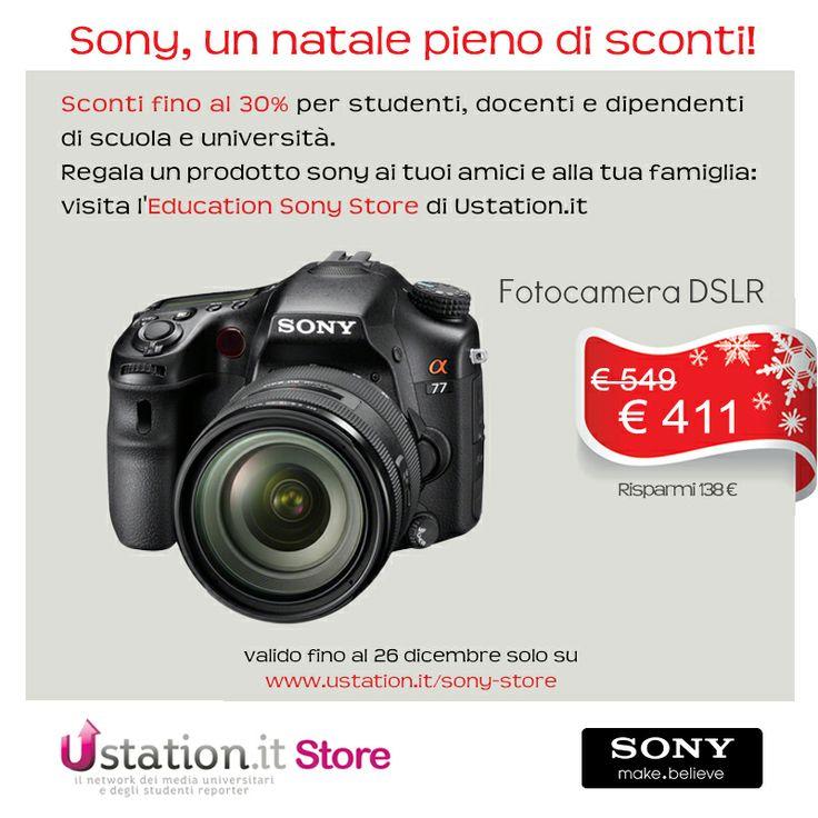 #sconti #studenti #natale #regali #università #sony #foto #fotocamera #dslr   http://www.ustation.it/sony-store