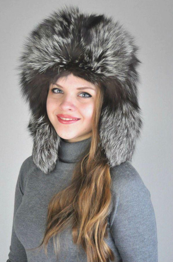 Silver fox fur hat - Russian style