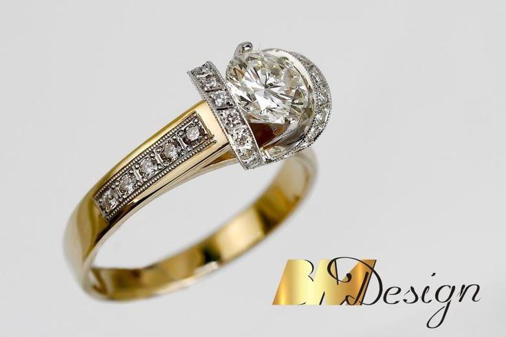 Zjawiskowy pierścionek, z okazałym diamentem, w niepowtarzalnej oprawie. BM Design Pierścionki z diamentami biżuteria na zamówienie autorskie wzory