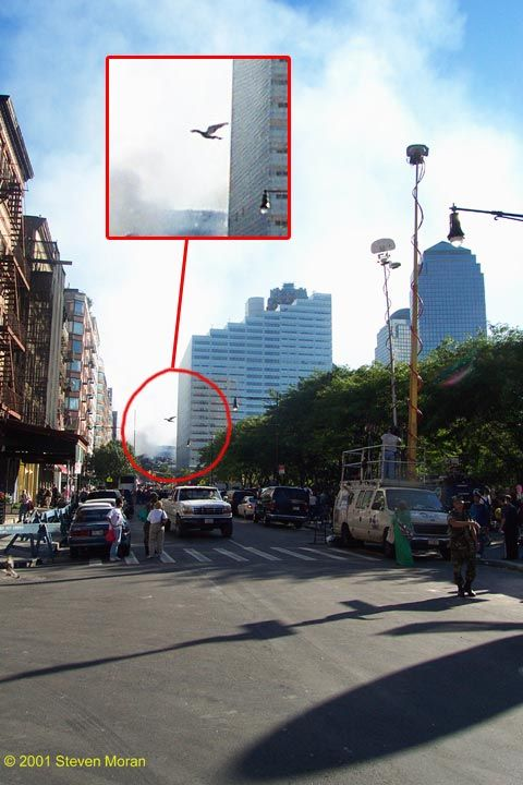 "I've been looking everywhere for this picture! This was taken on 9/11/01 at Ground Zero and has been the subject of great debate - some attribute it to ""Mothman."" I don't know what it is but it is creepy and, as yet, unexplained. If mothman is a harbinger of destruction, this thing fits the bill...."