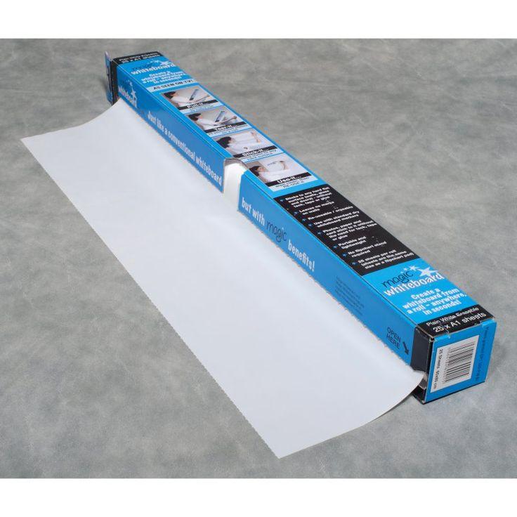 Magic Whiteboard - 65 Feet of Whiteboard on a Roll - 25 Dry Erase Sheets - MW1125