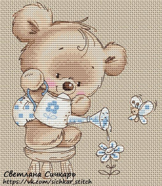 cross stitch little teddy - so cute!  love it! - chart free pdf here vk.com/sichkar_stitch