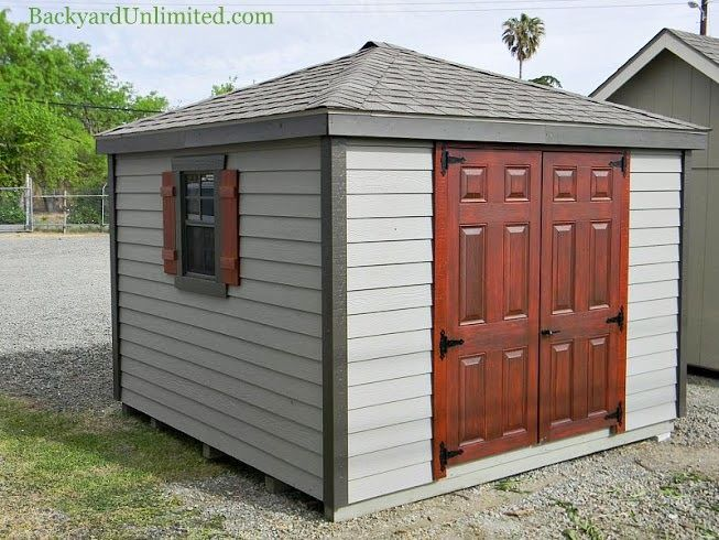 FOR SALE: 10'x10' Hip Roof Shed with Lap Siding display model on sale at our Vacaville, California, location. No additional delivery charge within the local area. Must have accessible site for fully-assembled delivery http://www.backyardunlimited.com/shed-sale $4,495