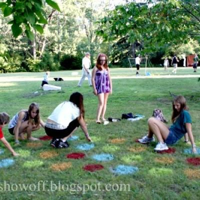Outdoors Twister. Great idea. Think I might do this for Khloe's birthday party to keep the kids entertained!