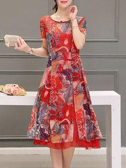 A-line Casual Short Sleeve Floral-print Midi Dress... NanangCe ~ Romántico-Rojo ~ Romantique-Rouge ~
