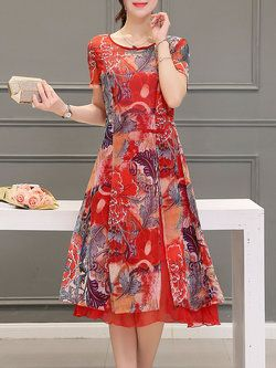 A-line Casual Short Sleeve Floral-print Midi Dress