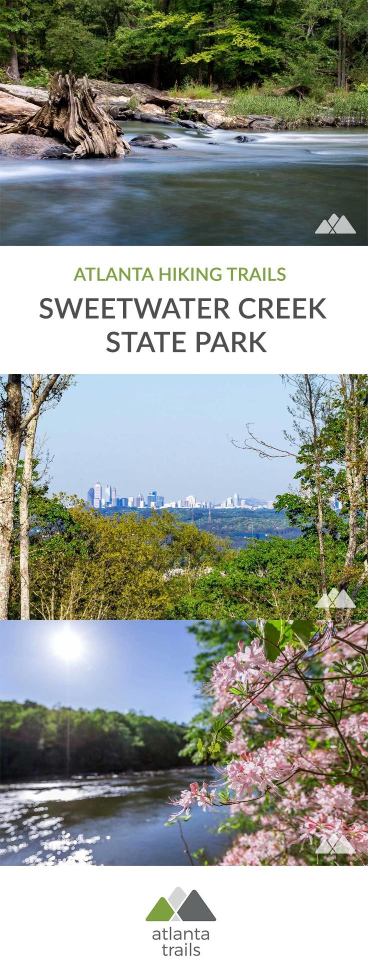 Hike Sweetwater Creek State Park's fantastic running and hiking trails near Atlanta, exploring a rushing, whitewater-filled creek, Civil War mill ruins and a beautiful, rolling forest. #hiking #running #atlanta #georgia #travel #outdoors #adventure
