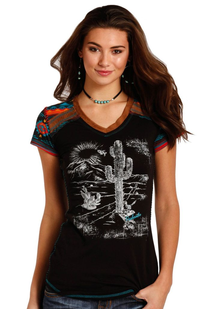 Panhandle Slim Ladies' Black Desert Aztec Tee L8T3613