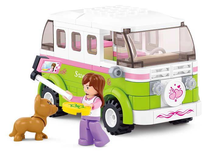 BOHS Building Blocks Friends Station Wagon Dream Outing Travel Car Puppies Children Girls Toys