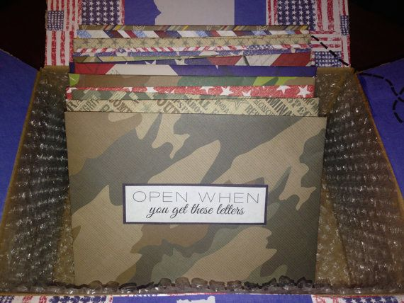 Military themed Open When letters! -- perfect to send to a boyfriend or husband in the army. #armygf #armystrong #carepackage