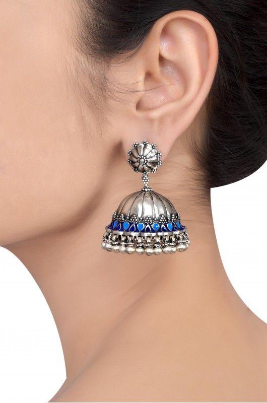 Silver Oxidised Floral Blue Enamel Rawa Dome Jhumka